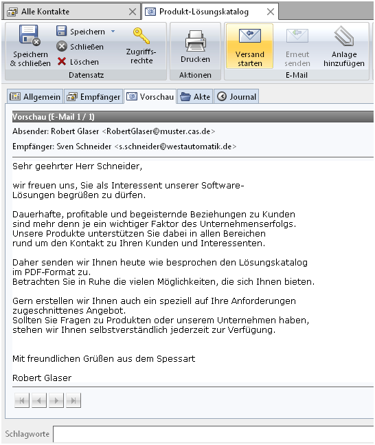 Personalisierte Serien E Mails